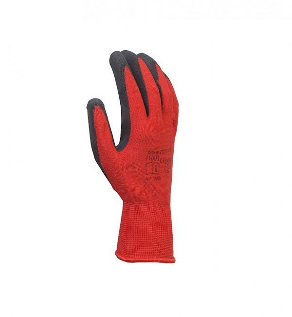 Schutzhandschuh aus Nylongestrick mit Latexbeschichtung in rot/schwarz