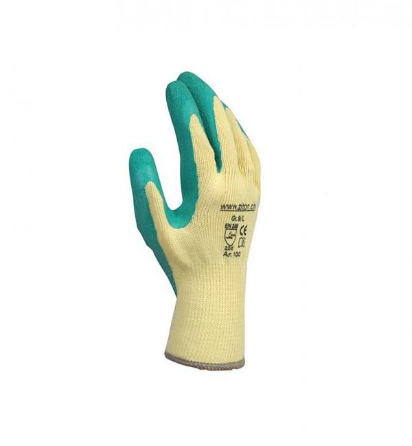 Schutzhandschuh aus Baumwollgestrick mit Latexbeschichtung in weiss/türkis