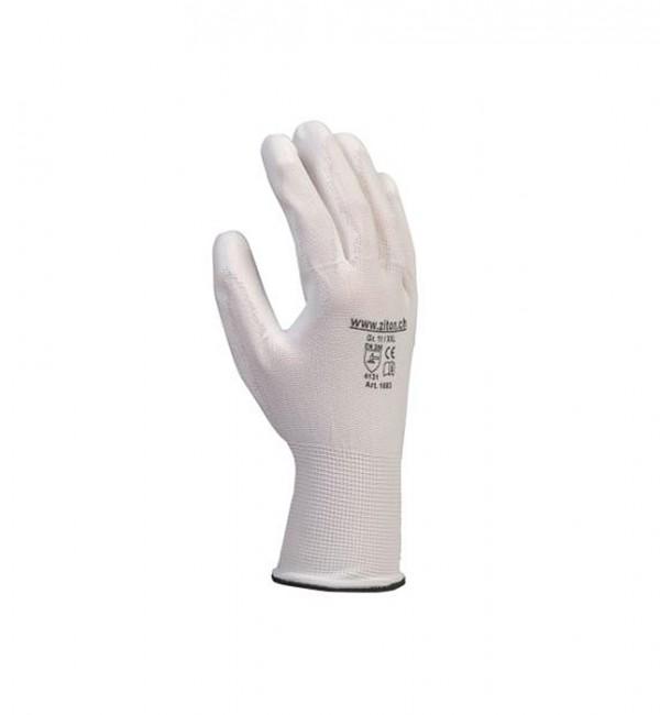 Schutzhandschuh aus Nylongestrick mit Polyurethanbeschichtung in weiss
