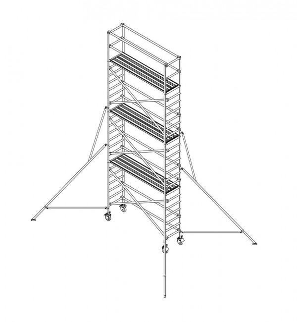Alu-Rollgerüst 70 x 250 cm –Arbeitshöhe 820 cm