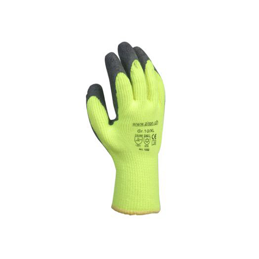 Kälteschutzhandschuh aus flauschigem Strick mit Latexbeschichtung in schwarz/neongelb