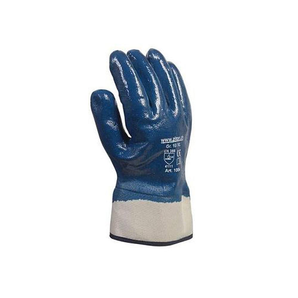 Schutzhandschuh aus moltoniertem Baumwolltrikot mit Nitril-Beschichtung in blau/weiss
