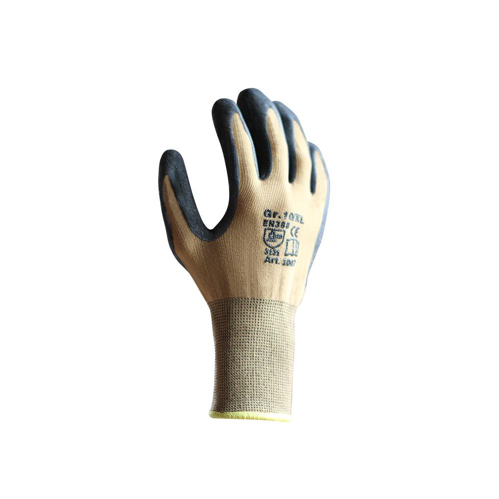 Schutzhandschuh aus Nylongestrick mit Latexbeschichtung in braun/schwarz,