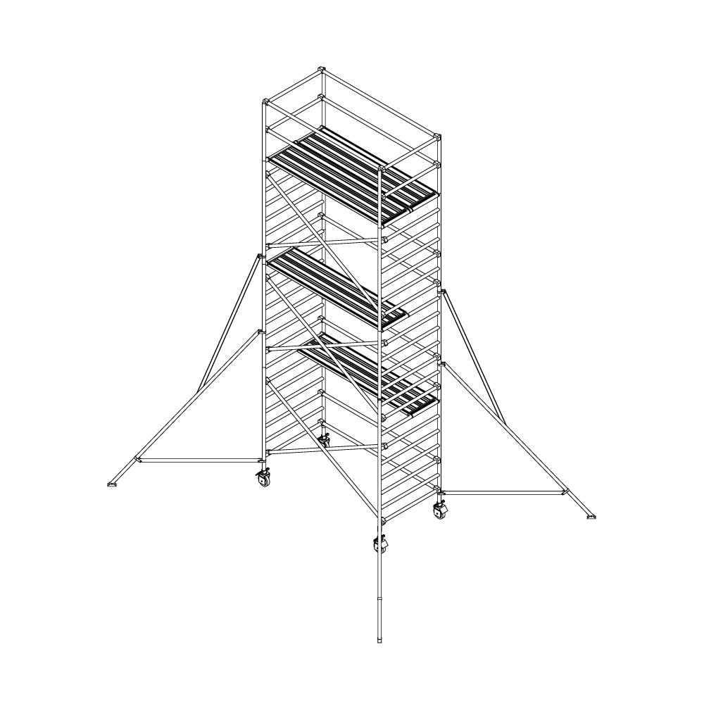 Alu-Rollgerüst 135 x 250 cm – Arbeitshöhe: 820 cm